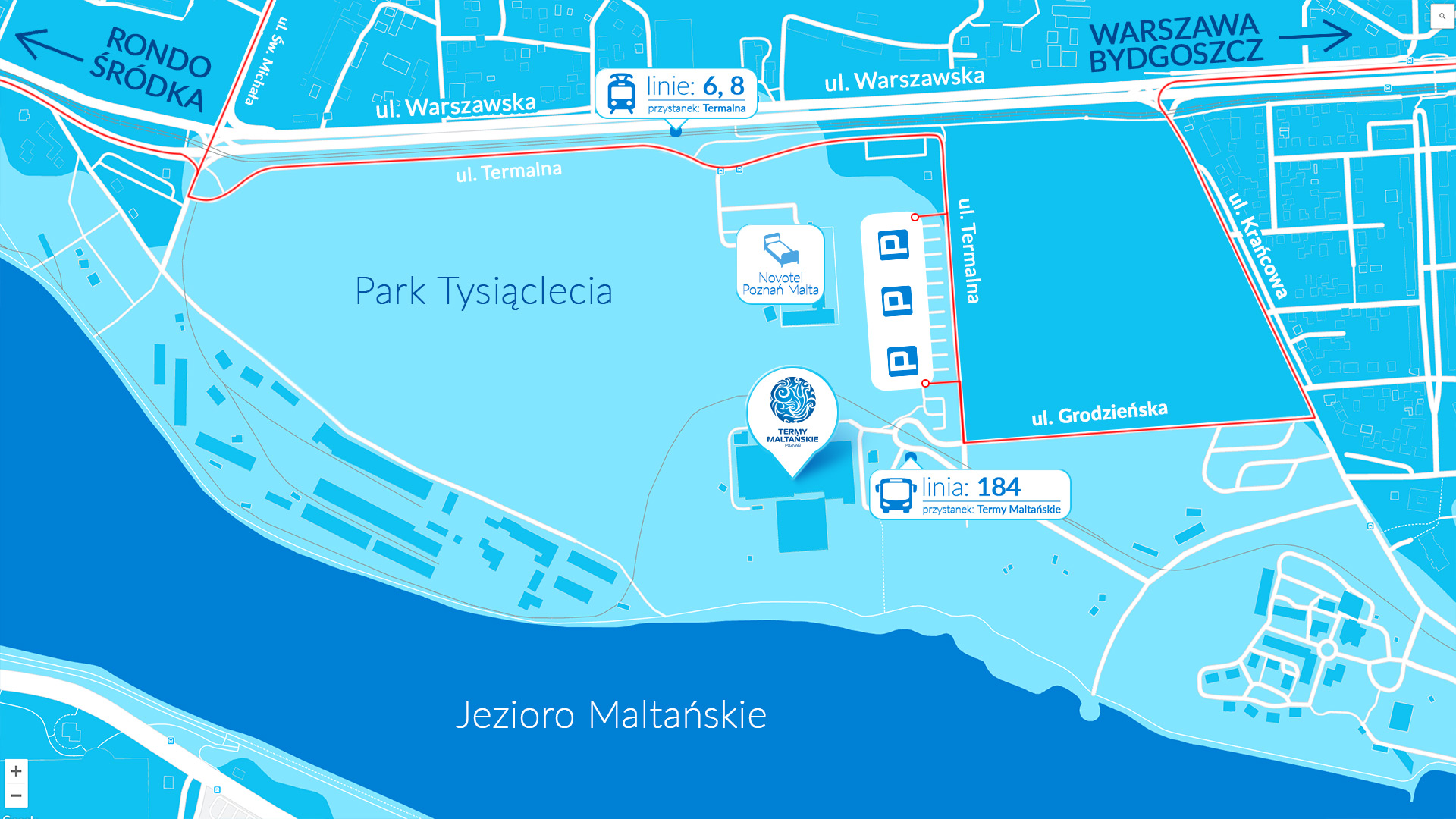 park wodny termy maltańskie - dojazd